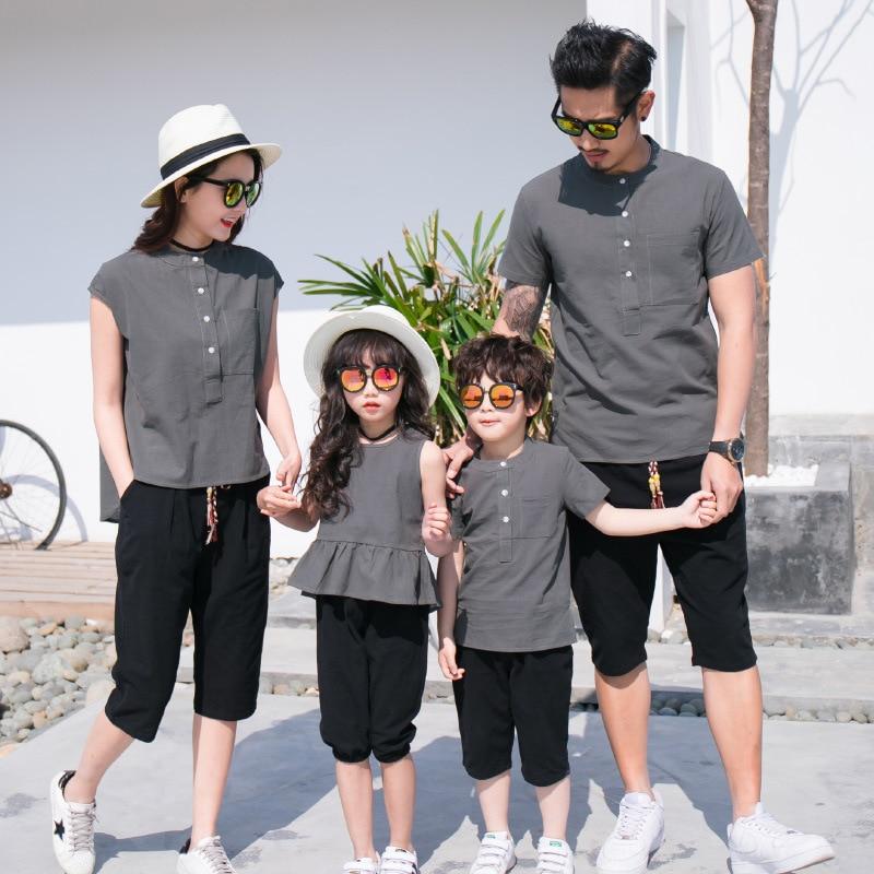Famille correspondant tenues mère père et bébé fille fils correspondant vêtements Couple costume grande soeur pantalon petit frère short