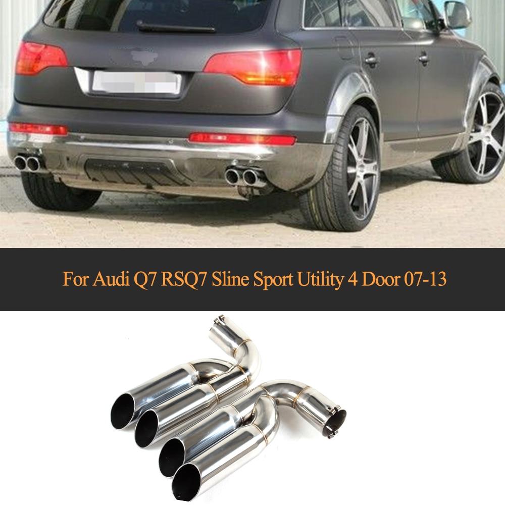 Embouts de silencieux d'échappement d'extrémité pour Audi Q7 RSQ7 Sline Sport utilitaire 4 portes 2007-2013 un Style de voiture en acier inoxydable