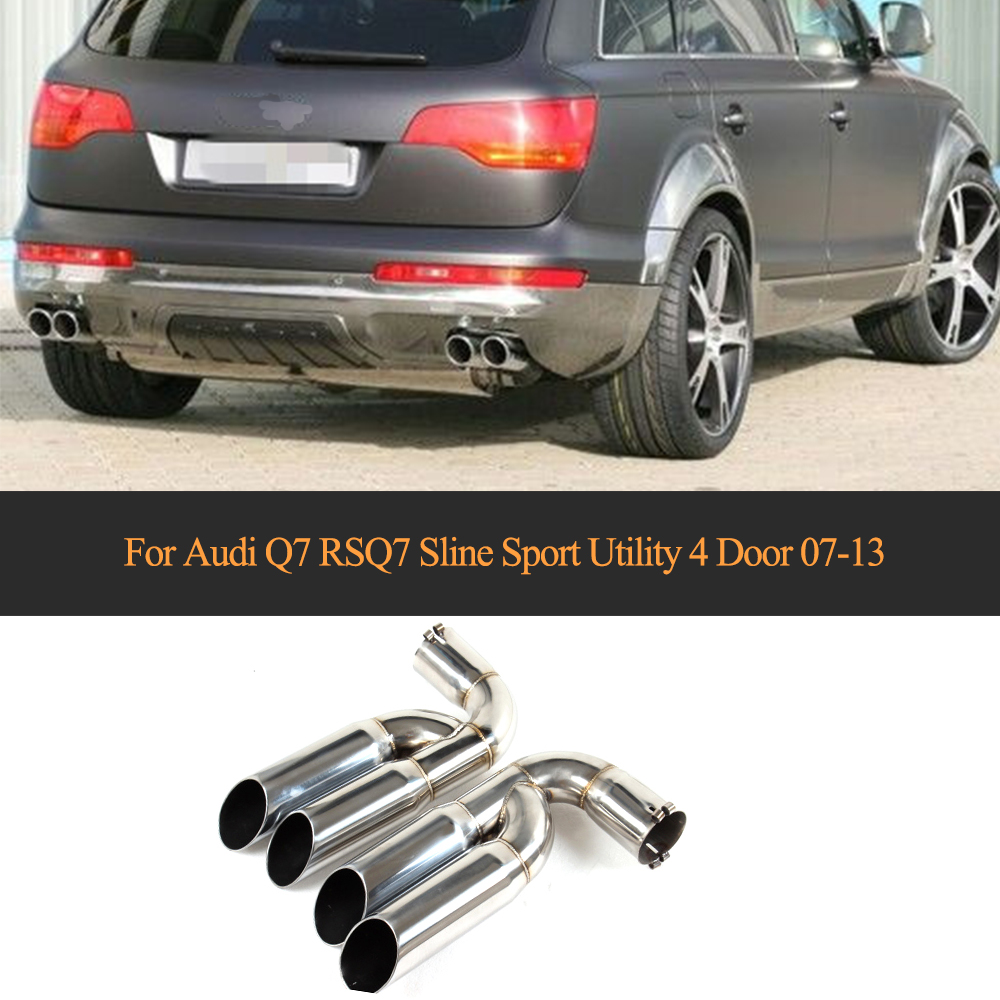 Fin Conseils D'échappement de Silencieux Pour Audi Q7 RSQ7 Sline Sport Utilitaire 4 Porte 2007-2013 Un Style En Acier Inoxydable car styling