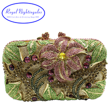Quality Flower Metal Clutch and Party Evening Bags with Sparkle Crystals for Prom Evening