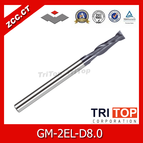ZCC.CT GM-2EL-D8.0 Cemented Carbide 2-flute flattened Long cutting edge end mills with straight shank zcc cthm hmx 4efp d8 0 solid carbide 4 flute flattened end mills with straight shank long neck and short cutting edge