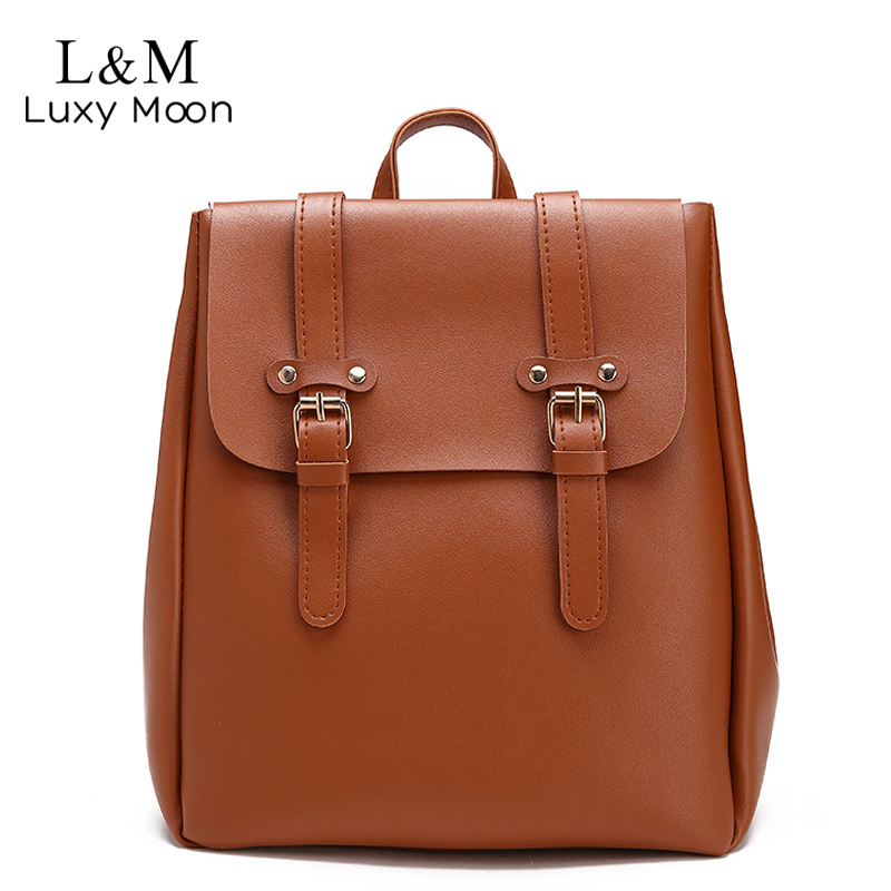 Luxy moon Women Leather Backpack Large Brown School Bag For Girls Female Travel Shoulder Bags Solid Belt Backpacks mochila XA18H