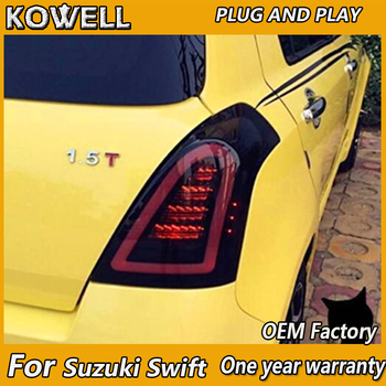 KOWELL Car Styling for Suzuki Swift Taillights 2005-2014 Swift Rear Light DRL+Turn Signal+Brake+Reverse auto Accessories