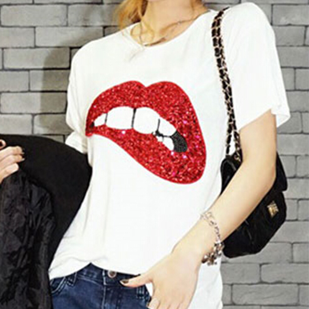 39954750c021 Women Sequin Lips Print New T Shirts Cotton Short Sleeve Tops T Shirt M-XL