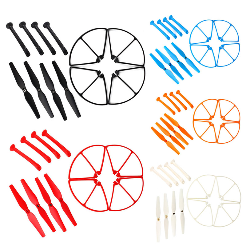 1Set RC Quadcopter Spare Parts Set 4Pcs Propeller Blades with Protection Frame and Landing Gear for Syma X8C/W/G