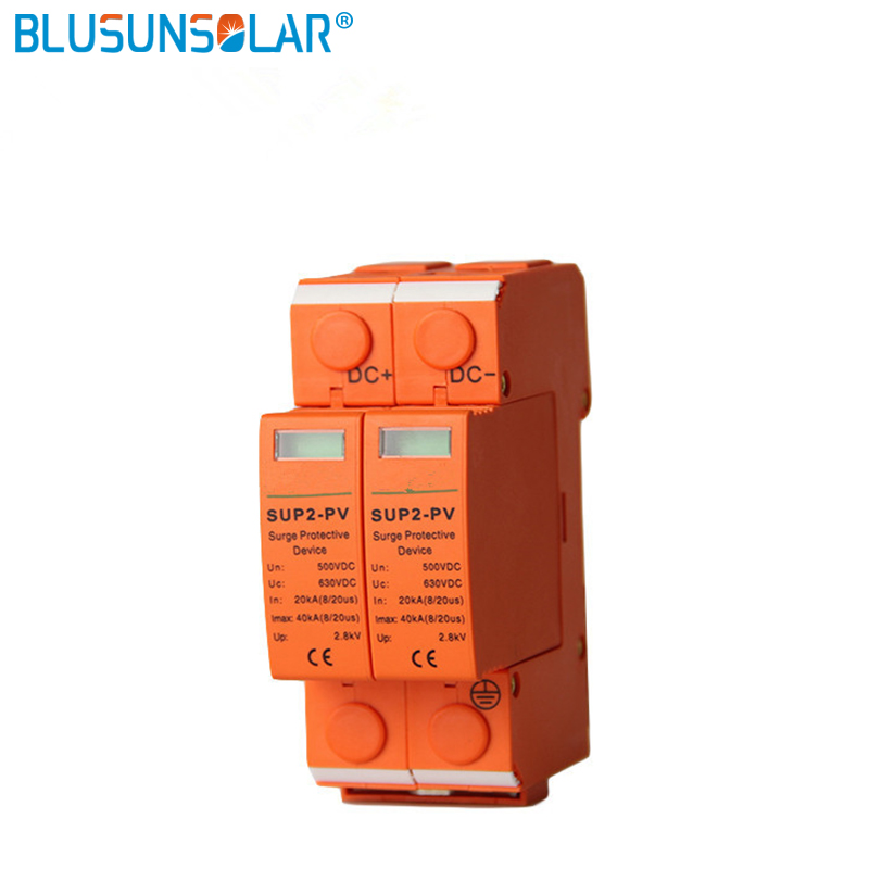 5 pcs High Performance 2P DC 500V/600V SUP4-S40 SPD 20/40KA DC Surge Suppressors/ DC Surge Protector for Solar System Protection towe ap c40 pv600 pv systems 600v dc system power class c protection 4 modulus imax 40ka up 2 2v thunder protector