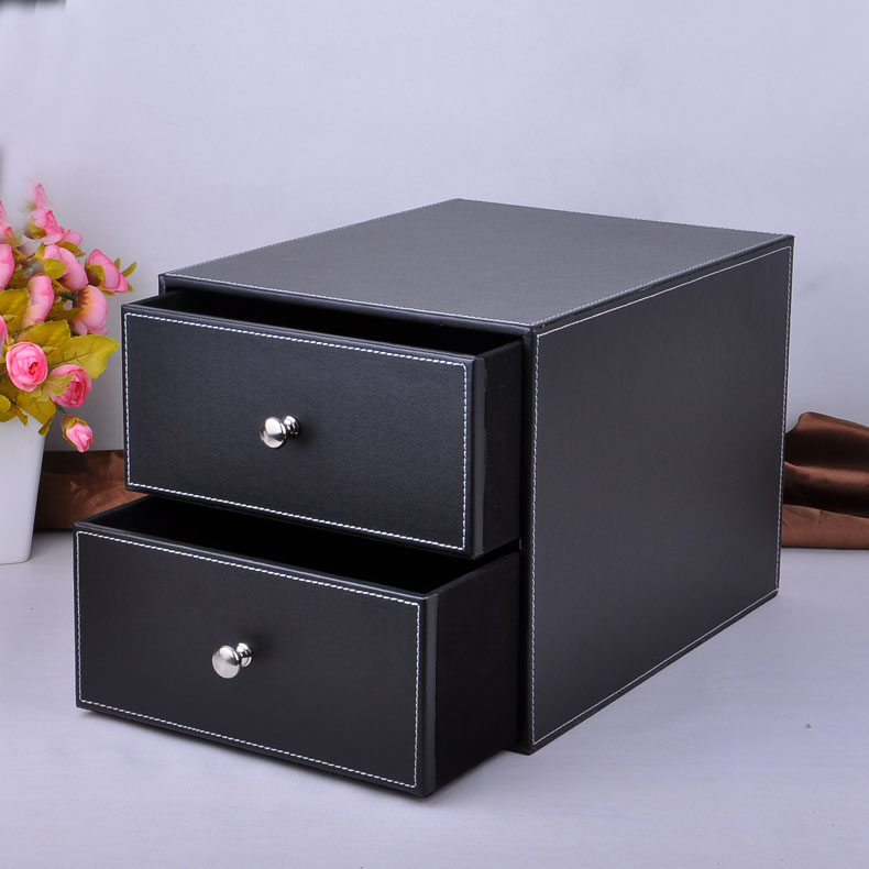 double layer double drawer wood leather desk set filing cabinet storage box office organizer document container holder  214A