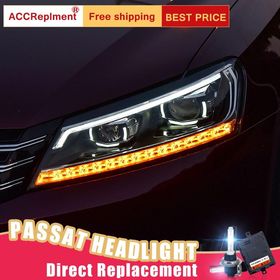 2Pcs LED Headlights For VW Passat 2011 2015 led car lights Angel eyes xenon HID KIT