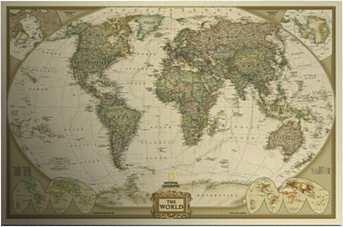 Fly Eagle Large Vintage World Map Detailed Antique Poster Wall
