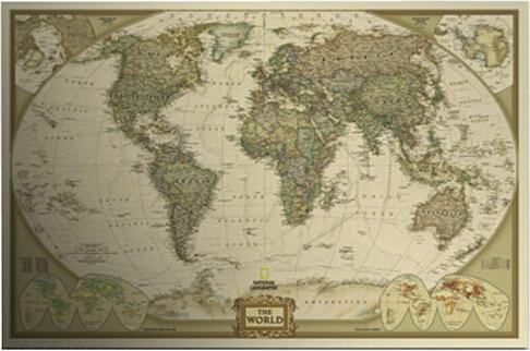 Fly Eagle Large Vintage World Map Detailed Antique Poster Wall - Large antique world map poster