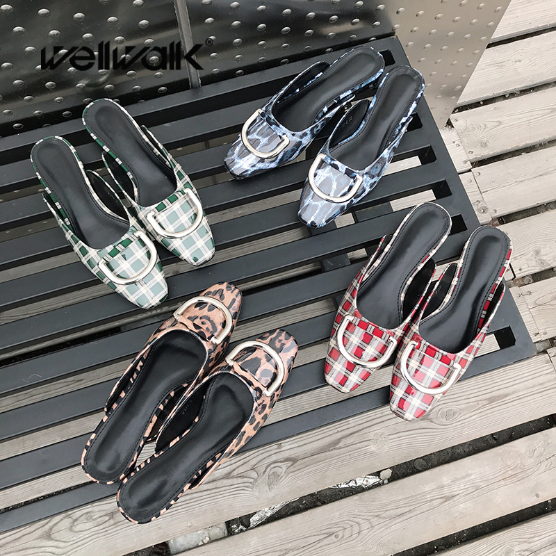 Wellwalk Designer Slides Women Flat Slippers Ladies Brand Mules Shoes Women Clear Slippers Fashion D Buckle Mules New Spring