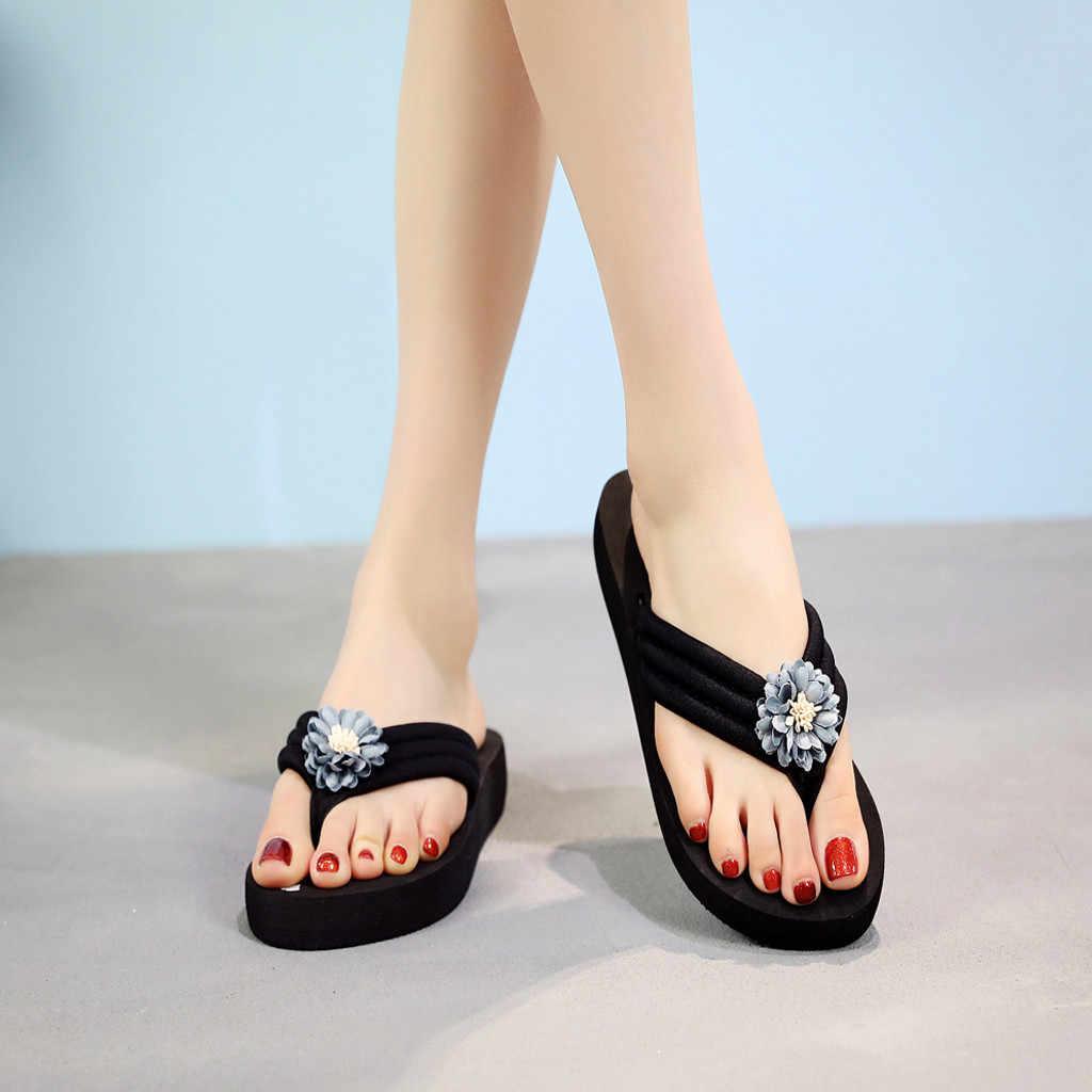 YOUYEDIAN Verão Bohemian Clipe Toe Flip Flops das Mulheres Não-Escorregar Cunhas Chinelos Chinelos de Praia Sapatos zapatos de mujer con tacon fiesta # g35