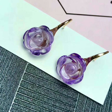 shilovem 18K yellow Gold Piezoelectric Amethyst stud earrings fine Jewelry trendy engagement gift new plant  myme1010086z