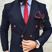 Navy Bule Double Breasted Suits Jacket Custom Made Fashion Blazer Formal Office