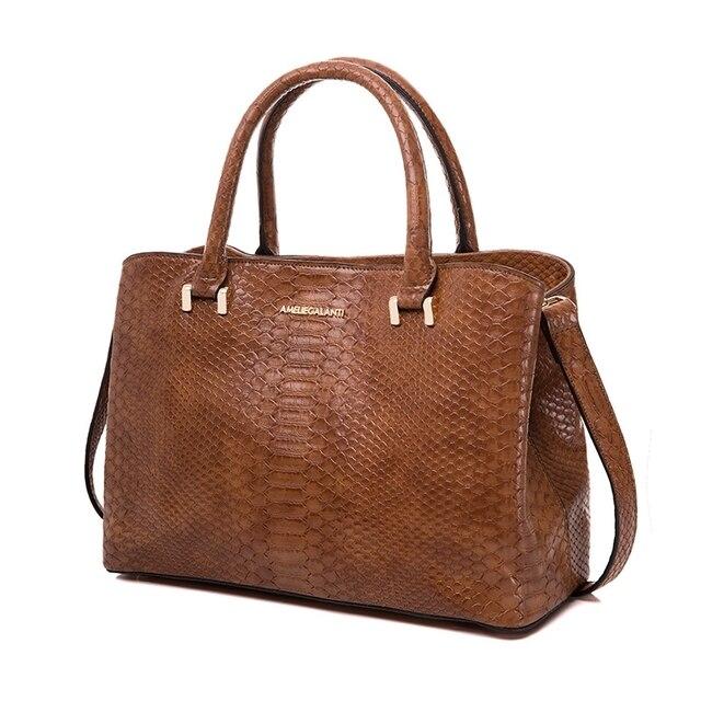 AMELIE GALANTI Женская сумка жесткий серпантин Средний размер высококачественная ткань из искусственной кожи