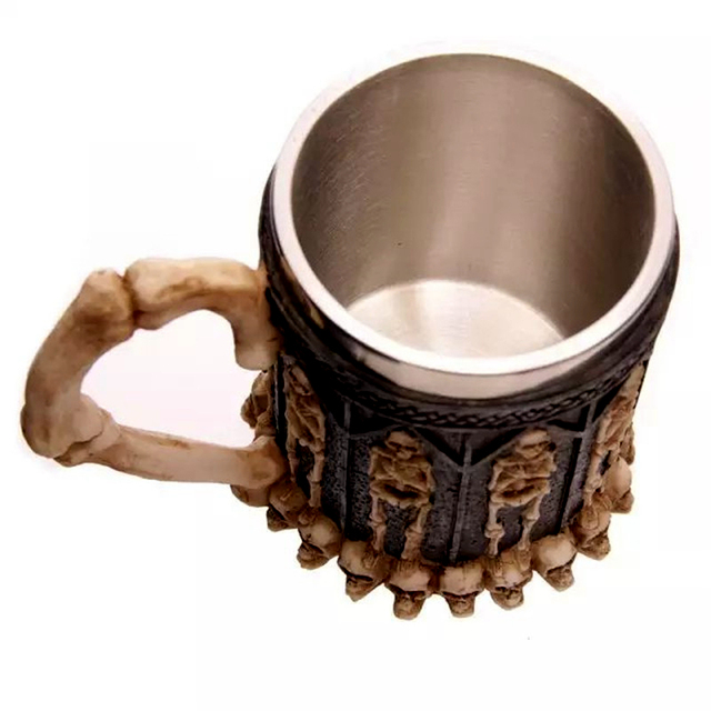 Horror Crypt Tankard 3D Skull Drinking Mug Resin Stainless Steel Liner Geek Skull Cup Home Office Coffee Cup Crazy Gift With Box 4