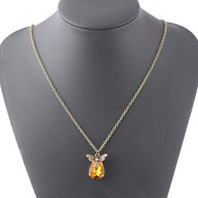 Fashion Retro Antique Necklaces Alloy Choker With Rhinestone Crystal Owl Necklace Jewelry Exquisite Honeybee Shape Necklaces(China)