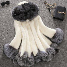 Large Size 4XL Thick Warm Faux Fur Coat Black artificial White fur coat Have A Hat manteau fourrure femme black and white