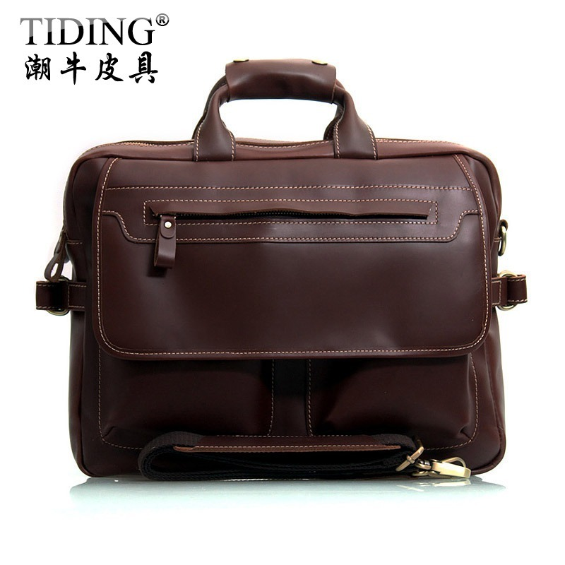 Cattle vintage briefcase male cowhide commercial briefcase genuine leather Laptop Tote   cross-body bag Tote men 2951