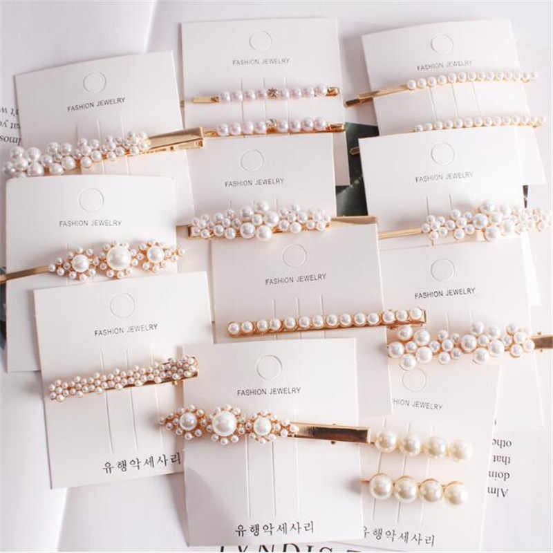 Fashion Women Girls Pearl Metal Hair Clip Barrette Stick Hairpin Bobby Jewelry Styling Tools Hair Accessories Headwear for Girls