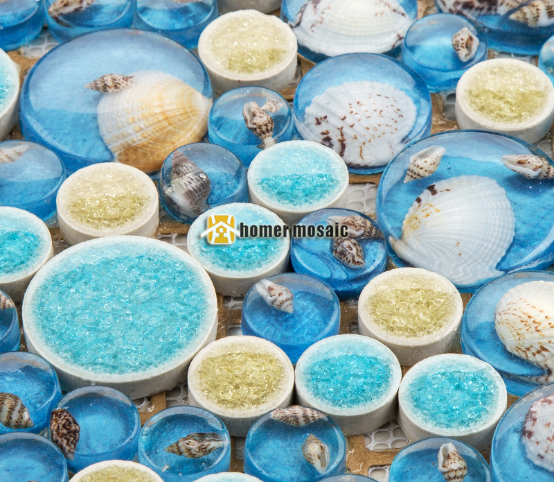 Blue Color Round Resin Natural Sea Shell Mixed Ceramic