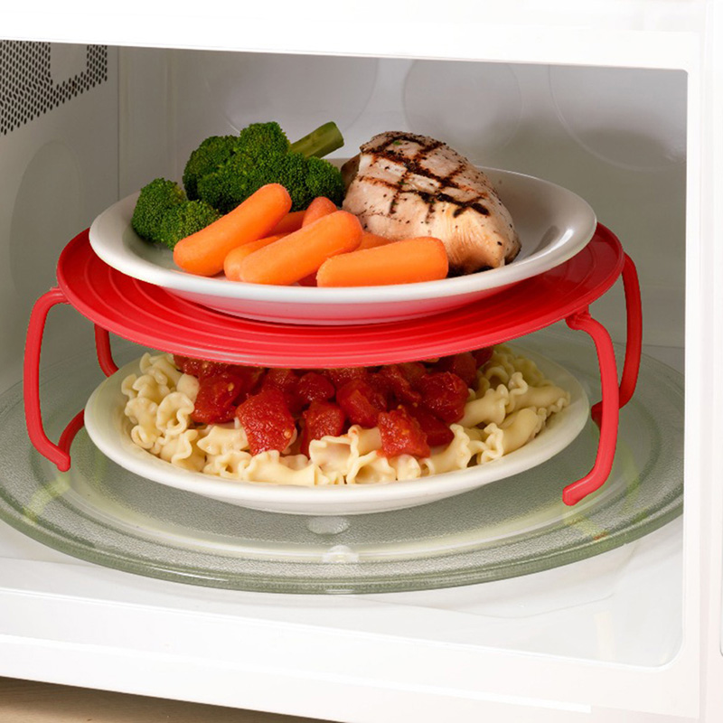 3 Colors Microwave Plastic Tray Stand Multifunction Kitchen Plate Rack Plastic Stacker A Lid And A Cooling Rack Kitchen Tool