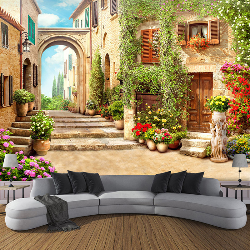 Custom Wall Mural Wallpaper European Town Street View 3D Stereo Space Living Room Backdrop Decorative Paintings Photo Wallpaper