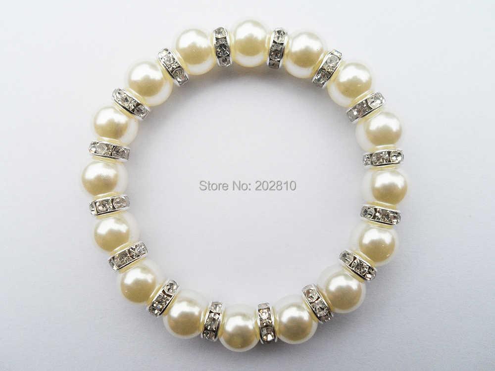 2019 grzywny wysokiej jakości biżuteria fabryka hurtowych trendy kobiety biała perła (10mm) rope chain strand bransoletka i bransoletka