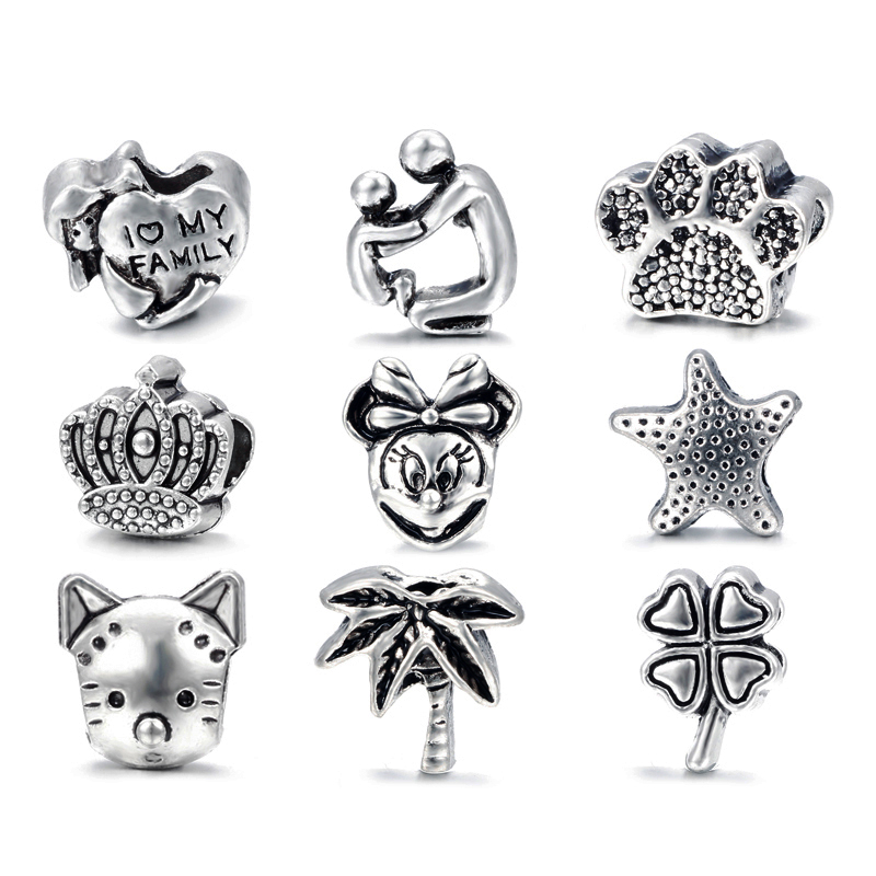 Free Shipping 1pc Antique Silver Love Family Cat Micky Crown Big Hole Bead Charm Fits European Pandora Charm Bracelets