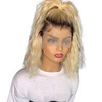 4*13 человеческие волосы на кружеве парики 1b/Блонд боб парик кружева спереди al 100% девственные бразильские волосы Remy короткие волосы волна пар