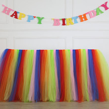 Rainbow Color Christmas Party Table Skirt Wedding Sign in Table Skirt Birthday Party Hotel Supplies Round Table Skirt(China)