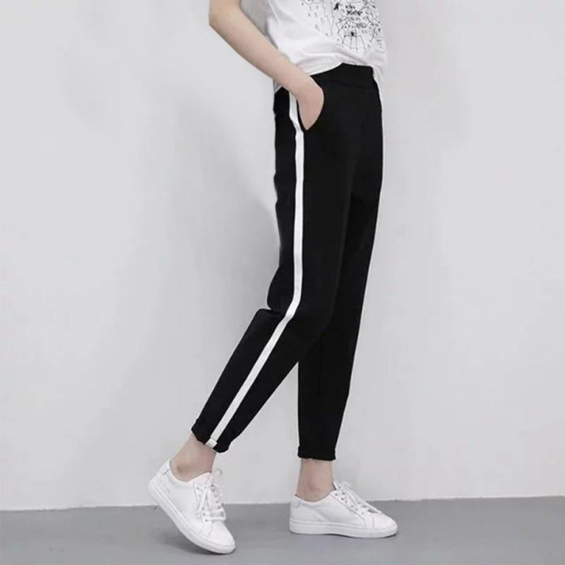New Fashion Girls Spring White Striped Pencil Pants Black Mid Waist Pants Women Flat Casual Trousers