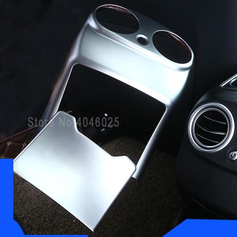 Для Mercedes Chrome ABS задний подлокотник коробка розетка декоративная отделка наклейка для Benz W205 C Class c180 GLC аксессуары для интерьера
