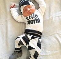 ערכות בגדי תינוק אופנה כותנה בגדי תינוקות אותיות באנגלית מודפס מלא שרוול Romper + מכנסיים + כובע יילוד תינוק