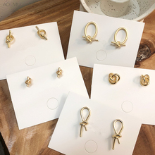 AOMU 2019 Korea Vintage Gold Metal Knot Bowknot Geometric Round Circle Oval Small Stud Earrings for Women Girl Wedding Party