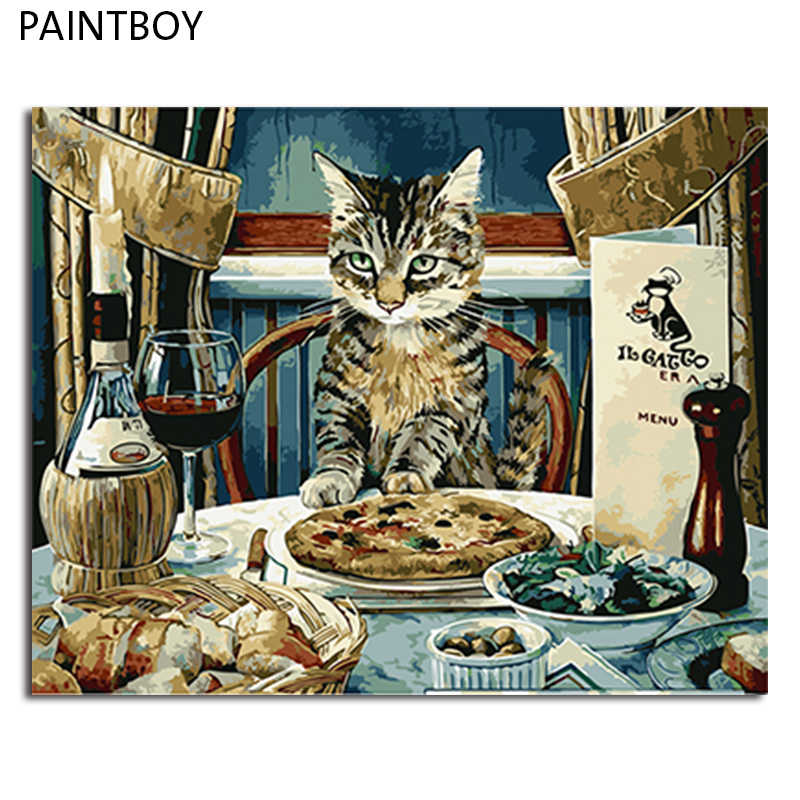 PAINTBOY Picture Modern Framed Pictures Painting By Numbers DIY Oil Painting On Canvas Home Decor Of Cat