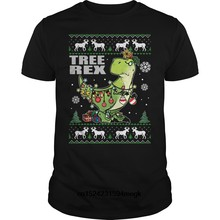 8497bbd17094c Забавные Для мужчин футболка Для женщин новинка футболка TREE REX T-REX  Рождественская футболка с