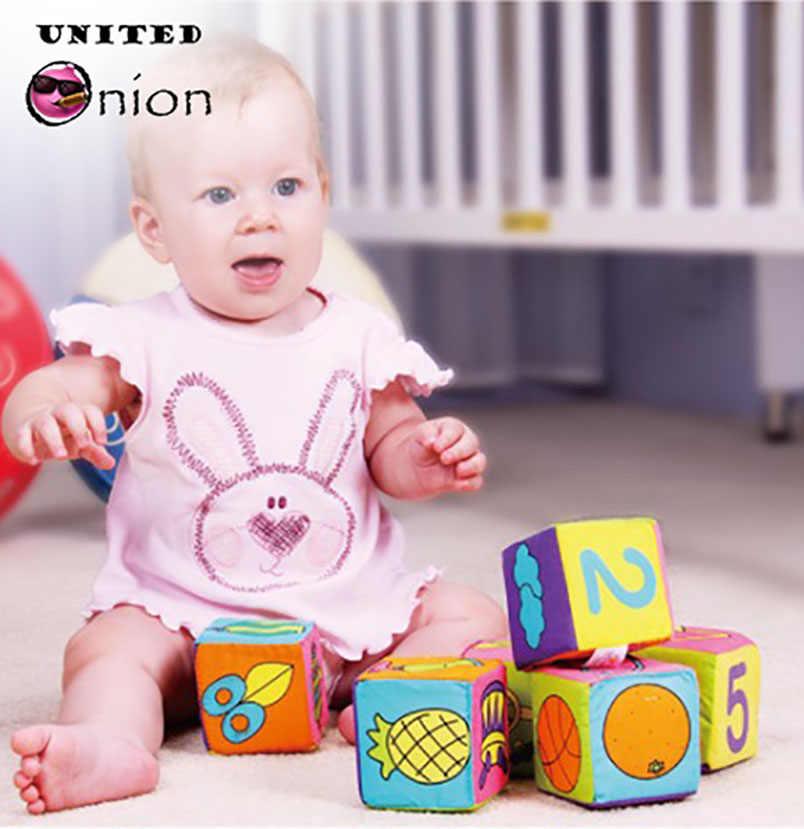 6ピース赤ちゃんのおもちゃぬいぐるみブロック布キューブブロックビルディングガラガラフワフワベビーキッズ早期教育のおもちゃビルディング抗ストレス女の子