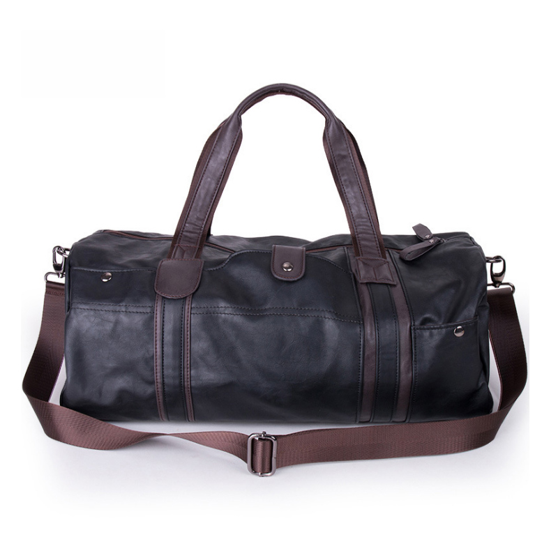 2018 New Casual Travel Bag Man PU Leather Retro Large Round Duffle Travel Gym Roll Bag WML99