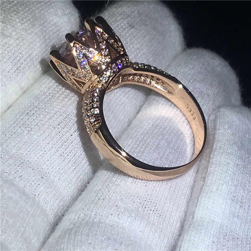 เสน่ห์มงกุฎแหวนสัญญาE Nagementแหวนแต่งงานวงสำหรับwomen11mm AAAAAเพทายcz Rose G Old F Illedครบรอบแต่งงานหมั้นหญิงเครื่องประดับ