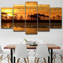 For Living Room Modern HD Printed Wall Art Pictures 5 Panel Sunset Lake Nature Scenery Home Decor Frame Canvas Painting Poster
