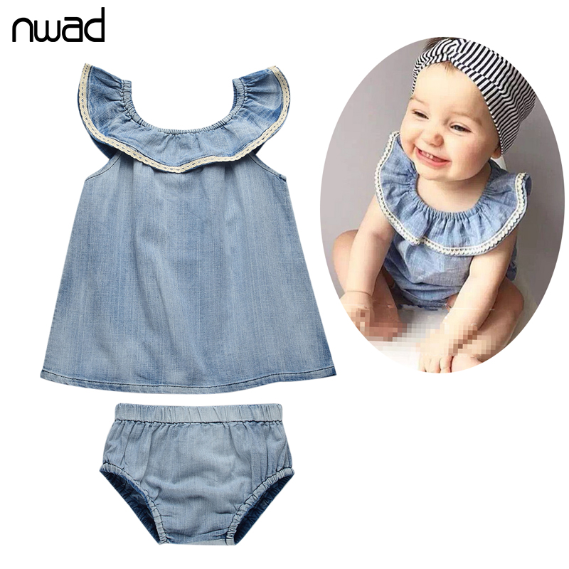 Summer Infant Clothing Set 2017 New Fashion Baby Girl Cotton Denim Clothes Sets Newborn Baby Costumes Tops +Pants FF103 2pcs children outfit clothes kids baby girl off shoulder cotton ruffled sleeve tops striped t shirt blue denim jeans sunsuit set