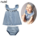 Summer Infant Clothing Set 2017 New Fashion Baby Girl Cotton Denim Clothes Sets Newborn Baby Costumes Tops +Pants FF103