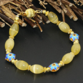 Bohemia style yellow beaded strand bracelets 8*12mm yellow cat eyes gold plated cloisonne spacers charms jewelry 7.5inch B2737