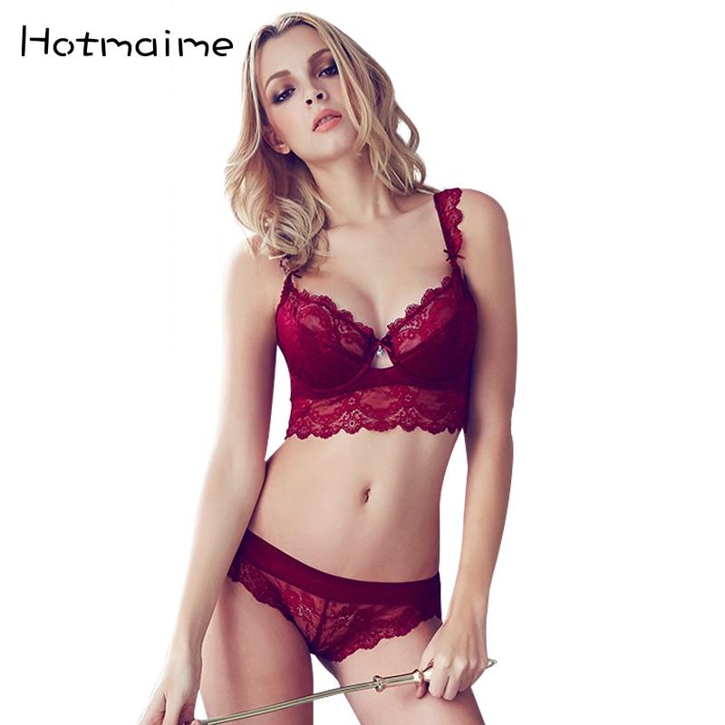 Moda transparente sexy conjunto de sutiã plus size Mulheres gaze bordado conjunto de roupa interior ultra-fina sutiã de renda e escavar calcinha
