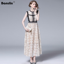 Banulin 2019 Fashion Runway Summer Dress Womens Celebrity Hollow Eyelash Lace Sleeveless Slim Ladies High Waist Party