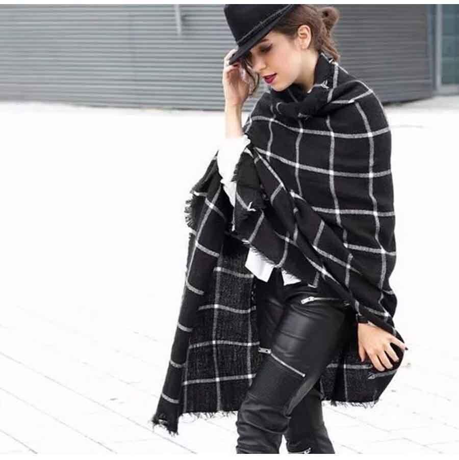 2016 Black Plaid Scarves Women s Men Scarves font b Tartan b font Designer Unisex Acrylic