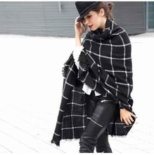 2016 Black Plaid Scarves Women's Men Scarves Tartan Designer Unisex Acrylic Basic Shawls Women's Scarves Hot Sale Za Scarf