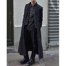 Средневековая одежда, чистый цвет, с длинными рукавами, три ряда пуговиц, мужская куртка, Ретро стиль, перекрестный ремень, получил Топ, Мужской плащ, куртка