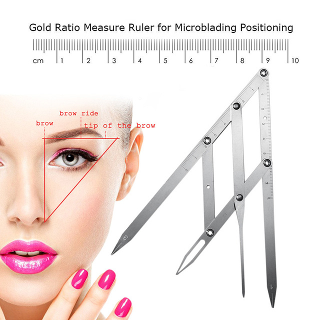Profession Eyebrow Tattoo Ruler Golden Ratio Permanent Grooming Stencil Shaper Symmetrical Stainess Steel Eyebrow Makeup Tool SK 1